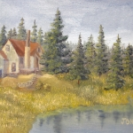 Original 2014 oil painting of a house in the woods near a small lake.