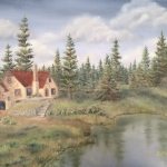 Original 2014 oil painting of a house in the woods near a pond.