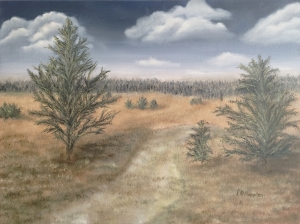 Original 2014 oil painting of jack pine trees in a meadow south of Brainerd MN.