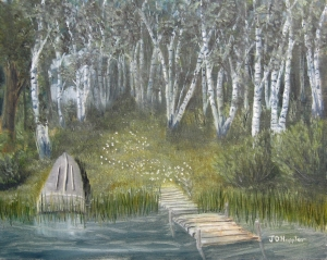 Original 2014 oil painting of a dock and overturned fishing boat near a lake in a birch woods.