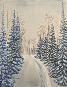 Original 2014 oil painting of a rural road and spruce trees in the snow.