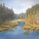 Original 2014 oil painting of a lake in the woods emptying into a river.