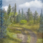 Original 2014 oil painting of a curve in a rural northern Minnesota road going up a hill.