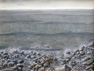 Original 2014 oil painting of the water splashing on rocks on the shore of Mille Lacs Lake.