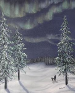 Original oil painting of a child and an adult watching the northern lights in winter.