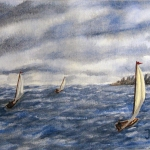 Original 2007 watercolor painting of three sailboats on a lake.