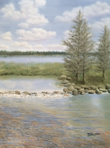 "Mississippi Headwaters is a 24""x18"" original oil painting on canvas of the Mississippi Headwaters on a sunny day."