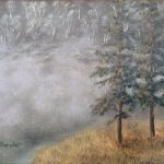 Original2014 oil painting of the morning mist on a lake in the woods.