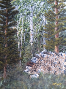 Original 2014 oil painting of firewood in a pile in the northern Minnesota woods.