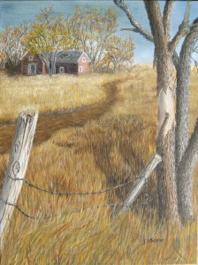 Original 2014 oil painting of an old abandoned farm house near a rural South Dakota road.