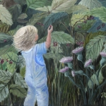 Original 2014 oil painting of a little girl picking wild raspberries.