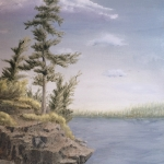 Original 2014 oil painting of a pine tree on the rocky shore of a lake.