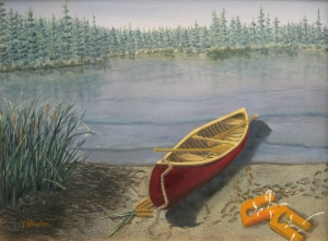 Original 2014 oil painting of a red canoe on the sandy shore of a lake with old orange life jackets strewn on the beach.