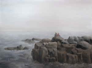 Original 2014 oil painting of sisters sitting on a large rock near Lake Superior on a foggy morning