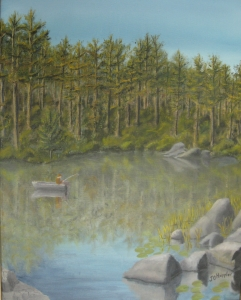 Original 2012 oil painting of a man fishing from a boat on a small lake in a pine forest.