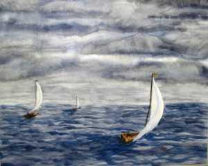 Original 2007 watercolor painting of three sailboats on a lake.