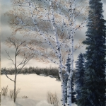 Original 2014 oil painting by J O Huppler of trees near a small lake in Minnesota in the winter.