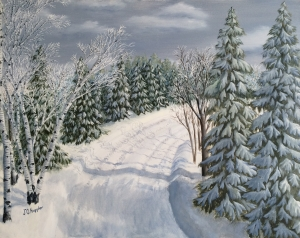 Original 2014 oil painting of trees and a plowed road following a snowfall.