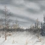 Original 2014 oil painting of a tamarack swamp in the winter.