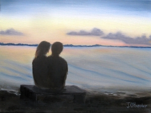 Original 2014 oil painting of a silhouetted couple watching the sunset over a lake.