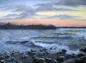 Original 2014 oil painting of waves breaking on a rocky shore of a lake at sunset.
