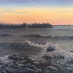 Original 2014oil painting of waves breaking on a rocky shore of a lake at sunset.