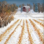 Original 2014 oil of a farm behind a picked cornfield in winter.