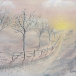 Original 2014 Oil Painting of a fence near a path at sunset in the Winter.