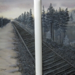 A set of two original 2014 oil paintings of a railroad track in the woods in winter.