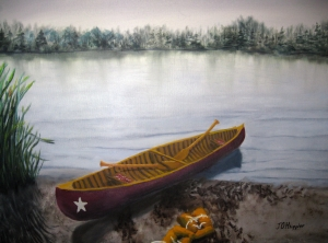 Original 2012 oil painting of a red canoe on the sandy shore of a lake with old orange life jackets strewn on the beach.
