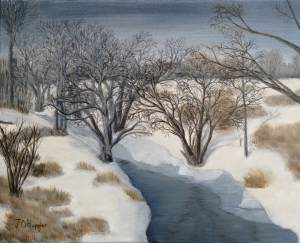 Original 2014 oil painting of a river and bare trees in the snow.