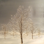 Original 2014 oil painting of a frosty tree in the winter.