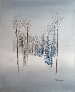 Original 2014 oil painting of trees along a road in the winter.
