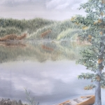 Original 2014 oil painting of a yellow canoe on the shore of a lake near a cedar tree.