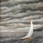 Original 2013 oil painting of a sailboat on a windy lake