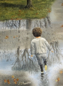 Original 2014 oil painting of a young boy running through rain puddles in the driveway.