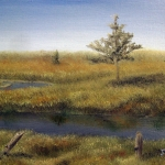Original 2013 oil painting of a river on the prairie with old fence poles, a few trees, and a distant farm.
