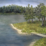 Original 2013 oil painting of a point near a lake in the woods in summer.