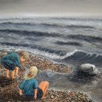 Original 2014 oil painting of two children throwing rocks into the water near Lake Superior.
