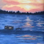 Original 2015 oil painting of the sunset across a frozen lake; an ice fishing house and a pickup truck with a plow on the front are in the middle-ground.
