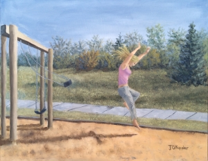 Original 2015 oil painting of a girl jumping from a swing on a playground on a summer evening.
