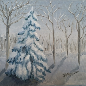 Original 2015 oil painting of a spruce tree with heavy, wet, late winter/ early spring snow weighing down its branches.
