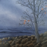 Original 2015 oil painting of a nearly bare maple tree near the rocky shore of a large lake in late autumn.