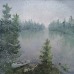 Original 2015 oil painting of a canoe on the shore of a small lake on a misty summer morning.