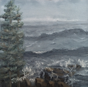 Original 2015 oil painting of trees and waves near the north shore of Lake Superior on a cold, windy, wavy, afternoon.