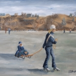 "137. Sunday Afternoon Ice Skating at Lake Kempeska 26""x20"" Oil on Stretched canvas Original 2015 oil painting of a young woman ice skating and pulling two young boys on a sled on a midwest lake on a sunny afternoon."