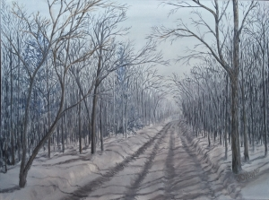 "Snowy Road at Dawn is an 18""x24"" original oil on canvas of a rural road through the woods on an overcast winter morning"