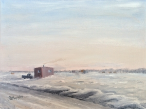 "Ice Houses on Mille Lacs is a 9""x12"" original oil on canvas of ice houses and pickup trucks on a large frozen lake in late afternoon."