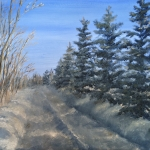 "Spruce Trees Along a Snowy Road is a 9""x12"" original oil on canvas of a tree lined rural road in winter."