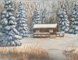 "Log Cabin in a Winter Woods 9""x12"" original oil painting on canvas of a log cabin nestled in the woods on a snowy evening."